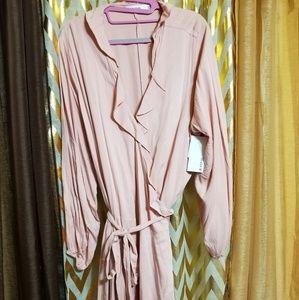 Dusty pink wrap dress